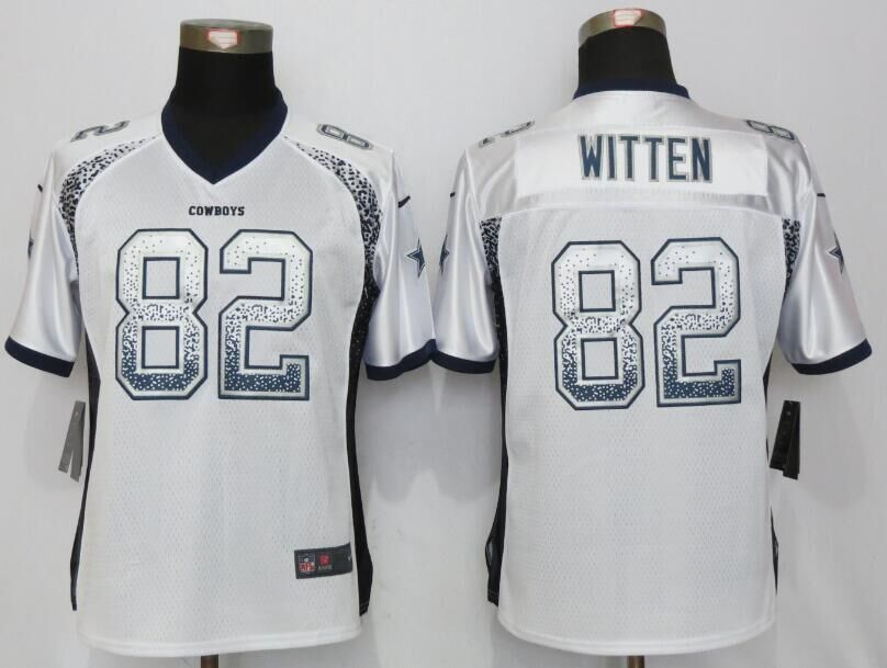 Women NEW Nike Dallas cowboys 82 Witten Drift Fashion White Elite Jerseys