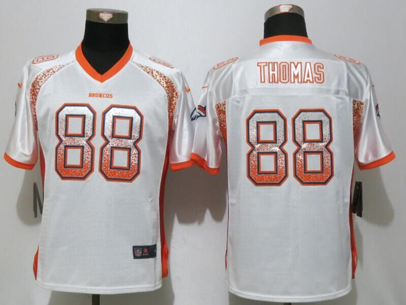 Women NEW Nike Denver Broncos 88 Thomas Drift Fashion White Elite Jersey
