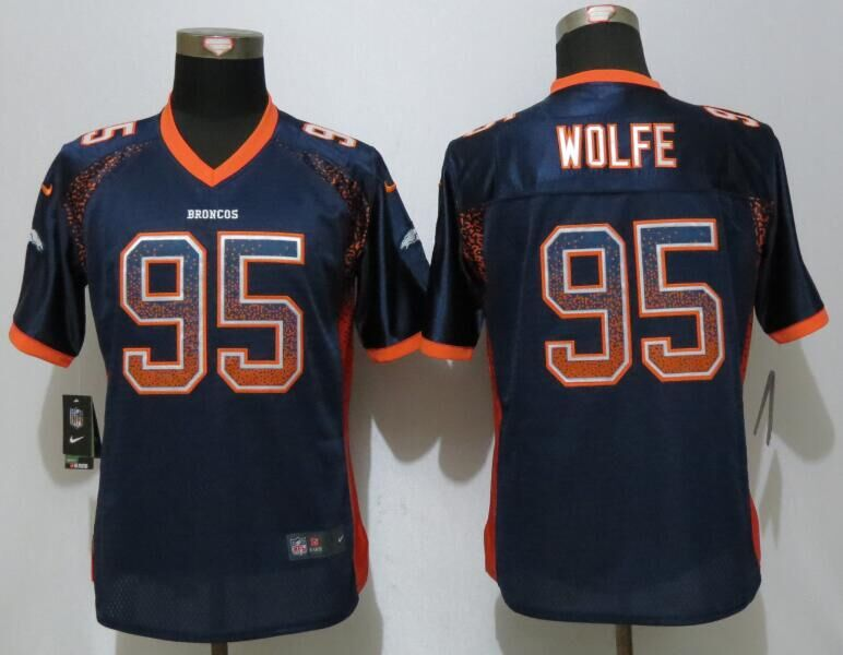 Women NEW Nike Denver Broncos 95 Wolfe Drift Fashion Blue Elite Jerseys