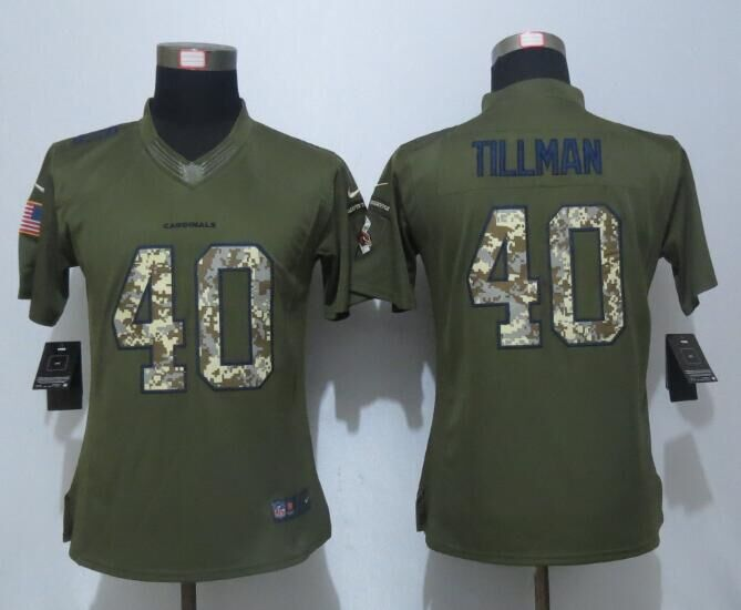 Women New Nike Arizona Cardinals 40 Tillman Green Salute To Service Limited Jersey