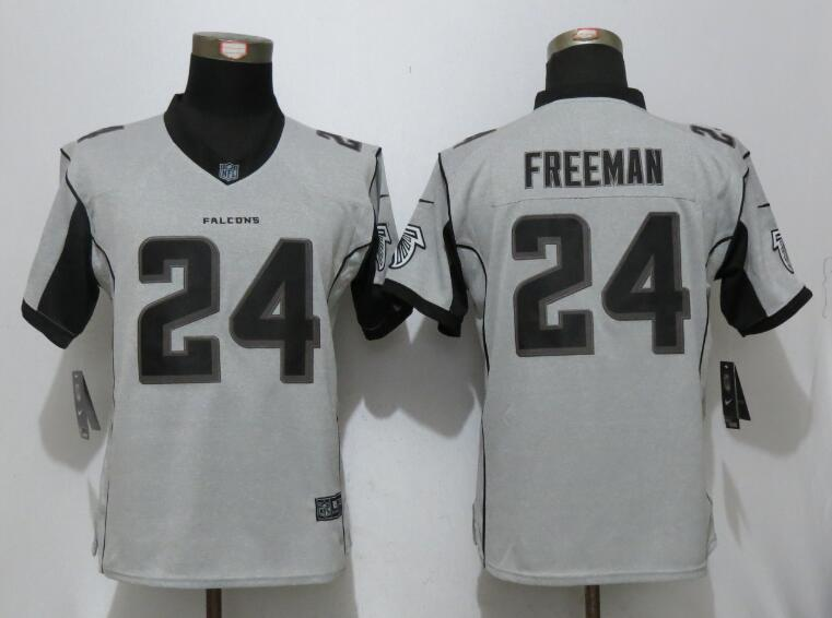 Women New Nike Atlanta Falcons 24 Freeman Nike Gridiron Gray II Elite Jersey
