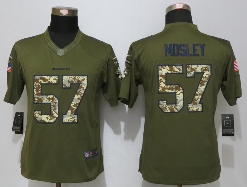 Women New Nike Baltimore Ravens 57 Mosley Green Salute To Service Limited Jersey
