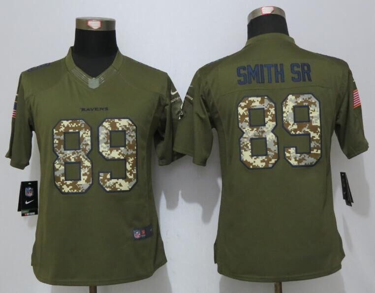Women New Nike Baltimore Ravens 89 Smith sr Green Salute To Service Limited Jersey