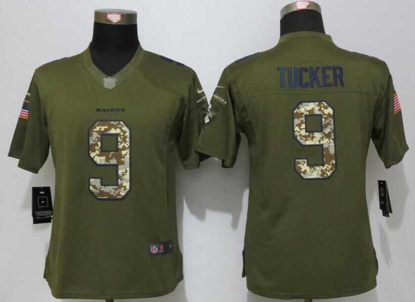 Women New Nike Baltimore Ravens 9 Tucker Green Salute To Service Limited Jersey