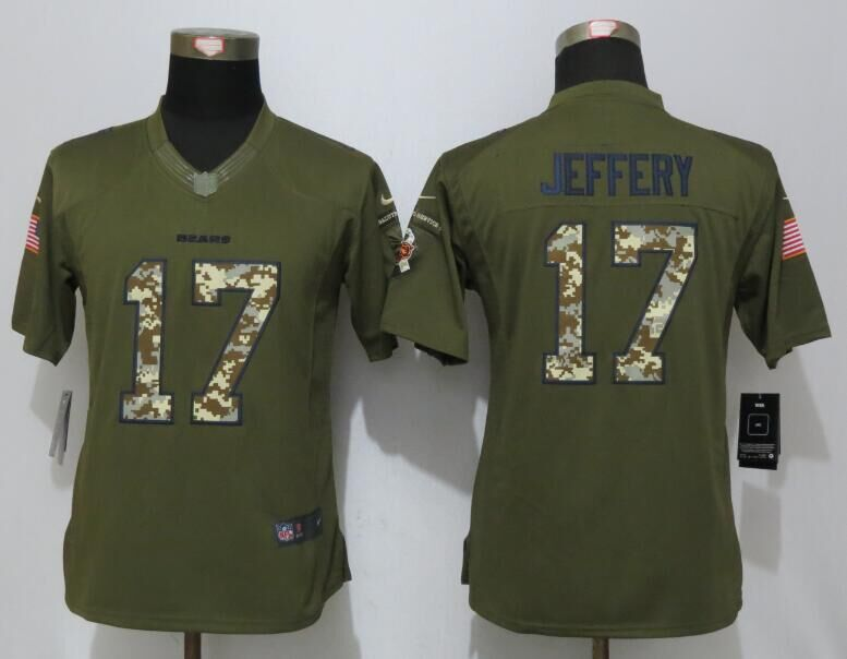Women New Nike Chicago Bears 17 Jeffery Green Salute To Service Limited Jersey