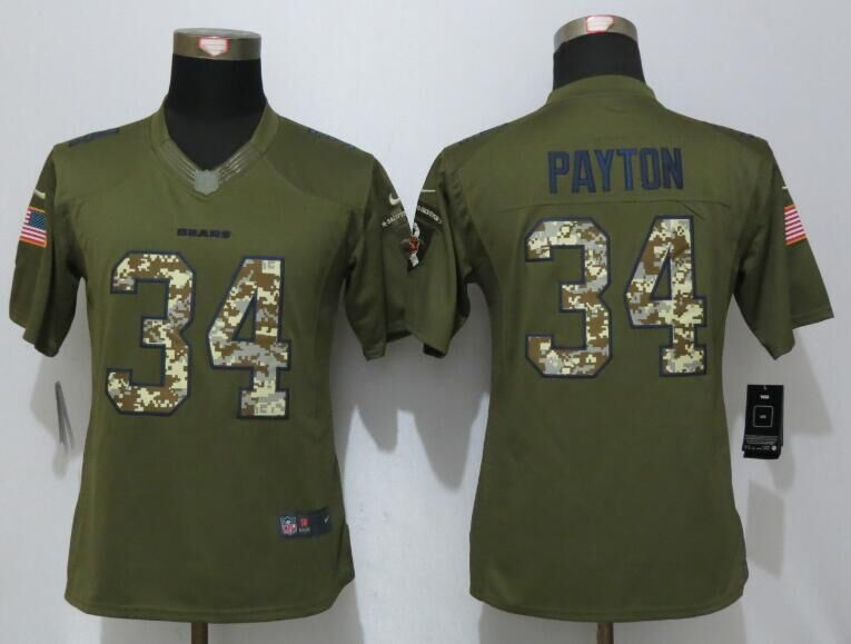 Women New Nike Chicago Bears 34 Payton Green Salute To Service Limited Jersey
