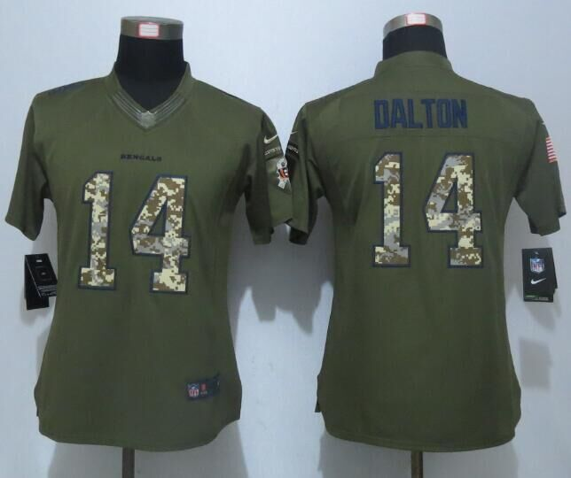 Women New Nike Cincinnati Bengals 14 Dalton Green Salute To Service Limited Jersey