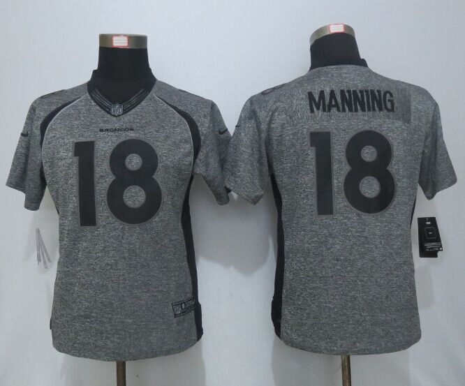 Women New Nike Denver Broncos 18 Manning Gray Men's Stitched Gridiron Gray Limited Jersey
