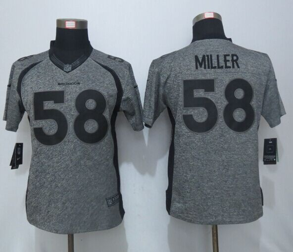 Women New Nike Denver Broncos 58 Miller Gray Men's Stitched Gridiron Gray Limited Jersey