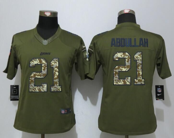Women New Nike Detroit Lions 21 Abdullah Green Salute To Service Limited Jersey