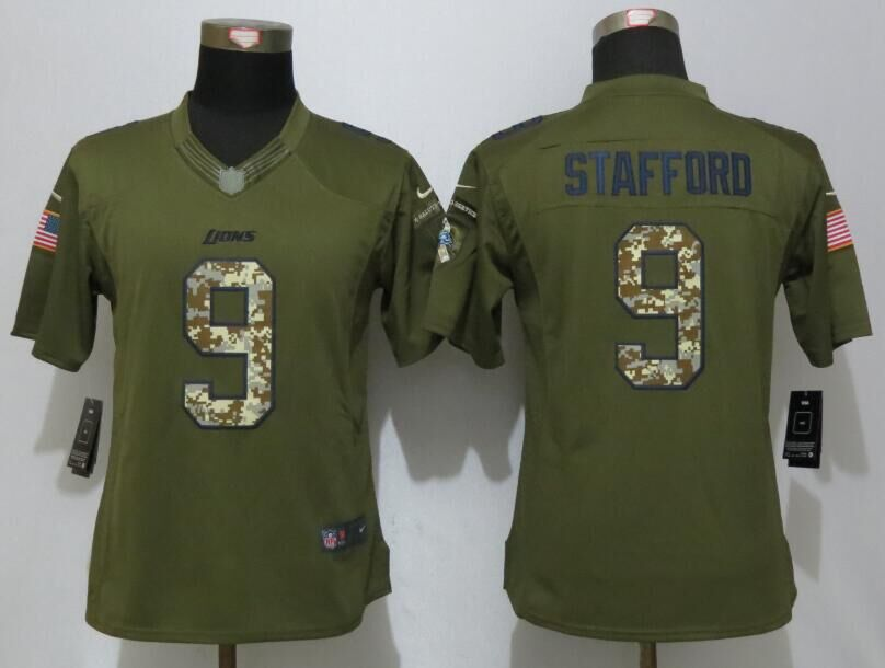Women New Nike Detroit Lions 9 Stafford Green Salute To Service Limited Jersey
