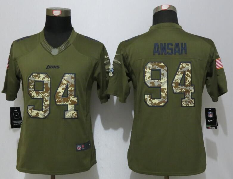Women New Nike Detroit Lions 94 Ansah Green Salute To Service Limited Jersey