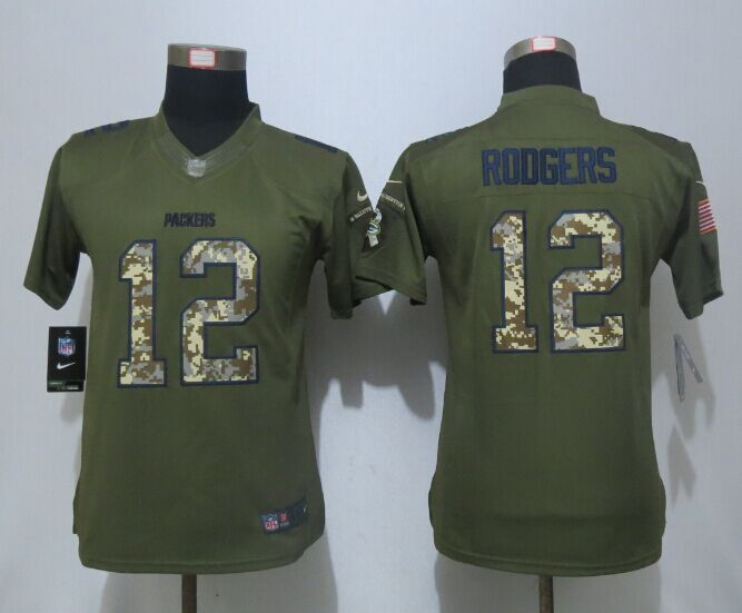 Women New Nike Green Bay Packers 12 Rodgers Green Salute To Service Limited Jersey