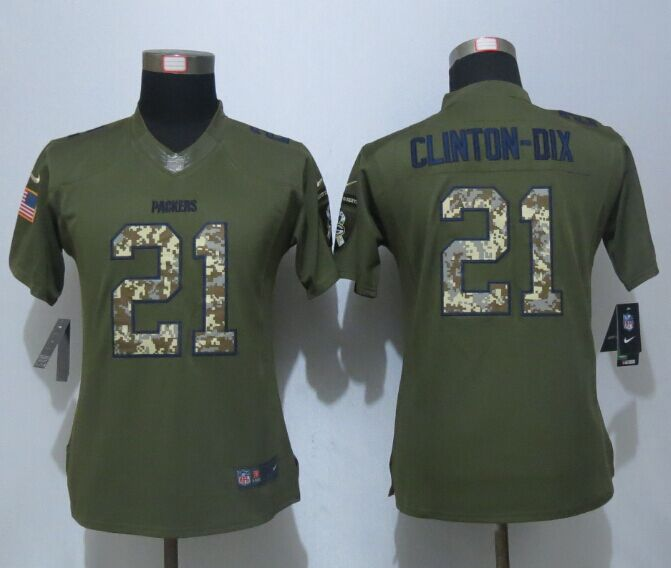 Women New Nike Green Bay Packers 21 Clinton-Dix Green Salute To Service Limited Jersey