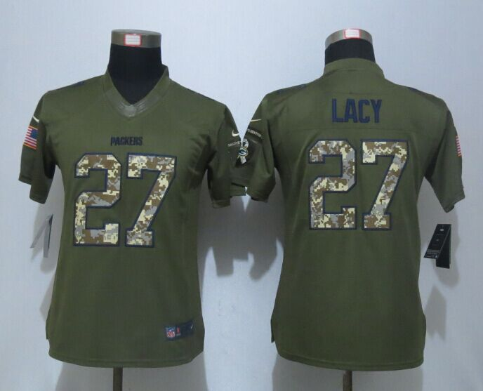 Women New Nike Green Bay Packers 27 Lacy Green Salute To Service Limited Jersey