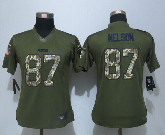 Women New Nike Green Bay Packers 87 Nelson Green Salute To Service Limited Jersey