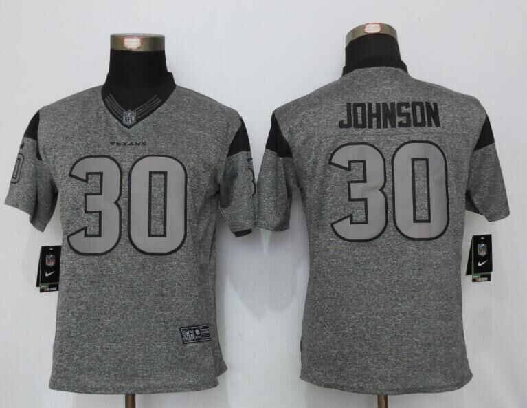 Women New Nike Houston Texans 30 Johnson Gray Stitched Gridiron Gray Limited Jersey