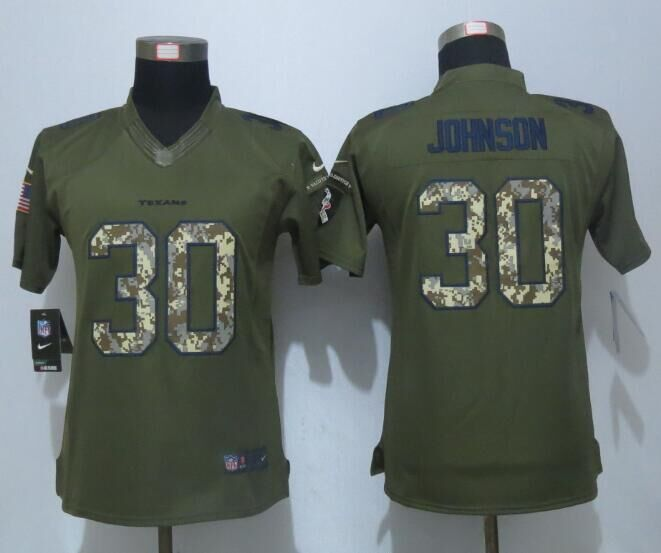 Women New Nike Houston Texans 30 Johnson Green Salute To Service Limited Jersey