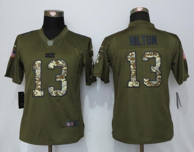 Women New Nike Indianapolis Colts 13 Hilton Green Salute To Service Limited Jersey