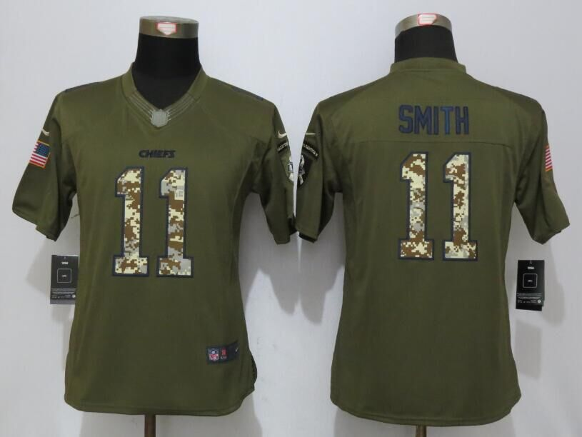 Women New Nike Kansas City Chiefs 11 Smith Green Salute To Service Limited Jersey