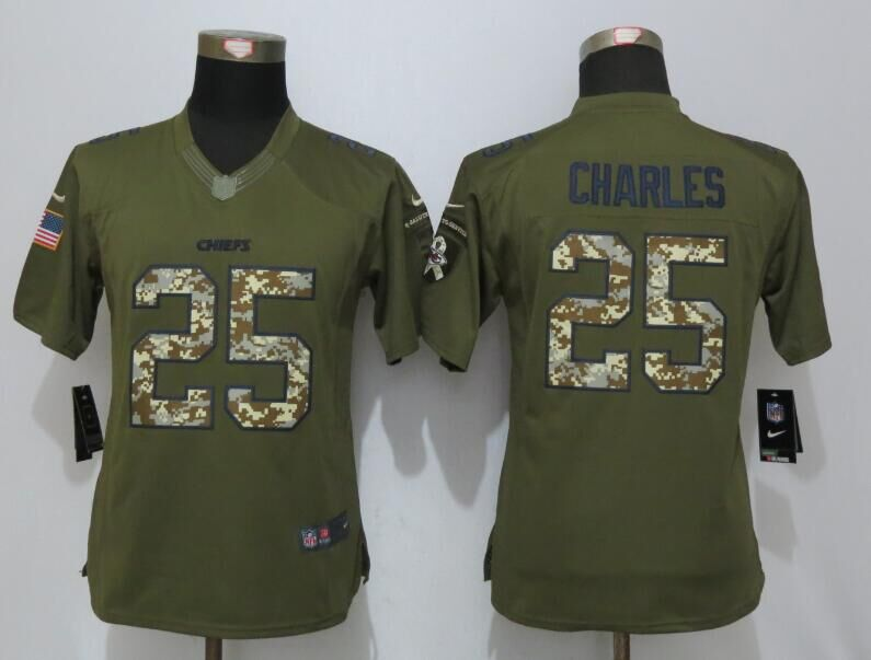 Women New Nike Kansas City Chiefs 25 Charles Green Salute To Service Limited Jersey
