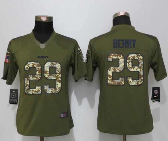 Women New Nike Kansas City Chiefs 29 Berry Green Salute To Service Limited Jersey