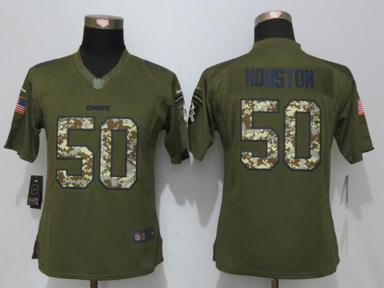 Women New Nike Kansas City Chiefs 50 Houston Green Salute To Service Limited Jersey