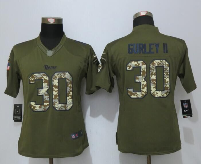 Women New Nike Los Angeles Rams 30 Gurley ii Green Salute To Service Limited Jersey