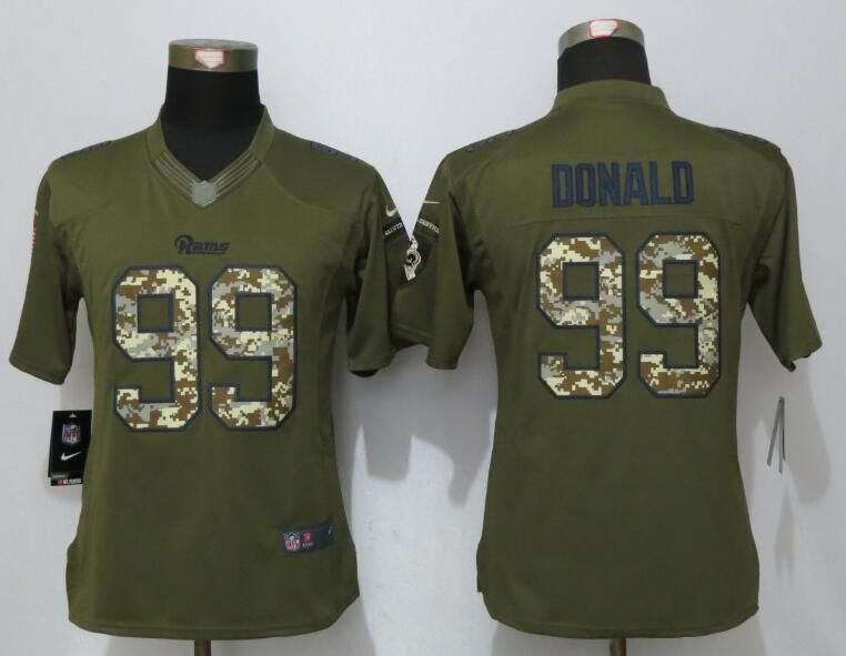 Women New Nike Los Angeles Rams 99 Donald Green Salute To Service Limited Jersey