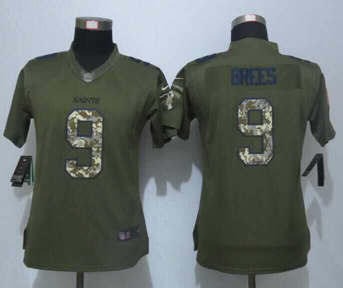 Women New Nike New Orleans Saints 9 Brees Green Salute To Service Limited Jersey
