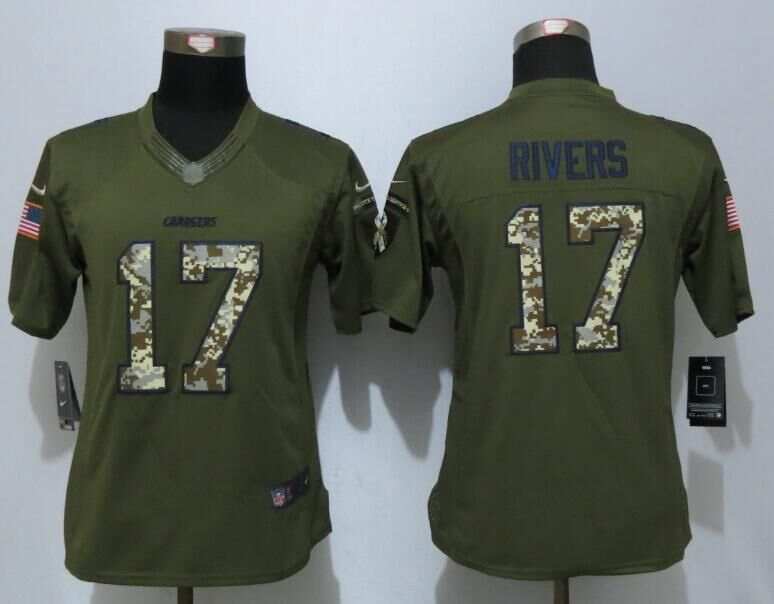 Women New Nike San Diego Chargers 17 Rivers Green Salute To Service Limited Jersey