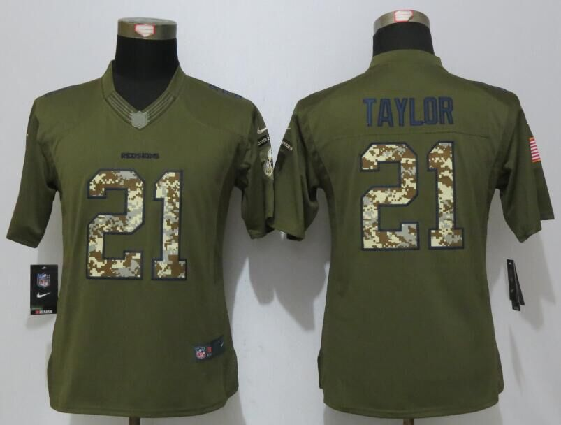 Women New Nike Washington Redskins 21 Taylor Green Salute To Service Limited Jersey