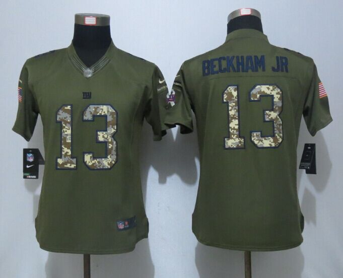 Women New Nike York Giants 13 Beckham jr Green Salute To Service Limited Jersey