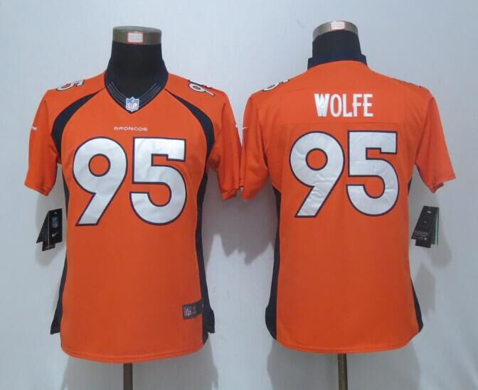 Women Nike Denver Broncos 95 Wolfe Orange Limited Jerseys