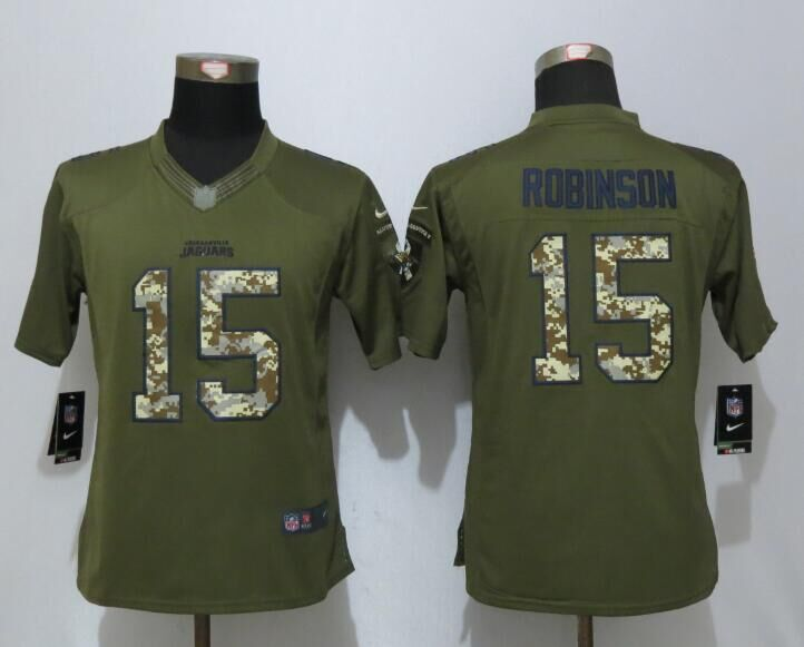 Women Nike Jacksonville Jaguars 15 Robinson Green Salute To Service Limited Jersey