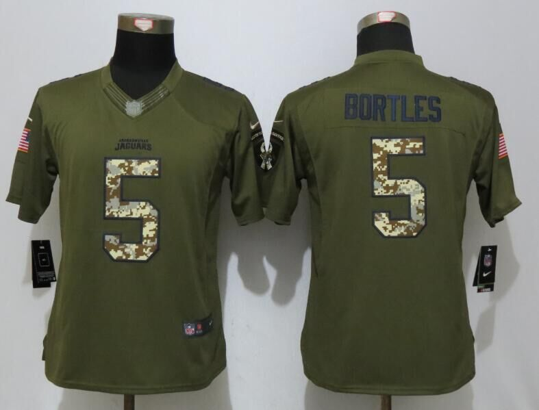 Women Nike Jacksonville Jaguars 5 Bortles Green Salute To Service Limited Jersey