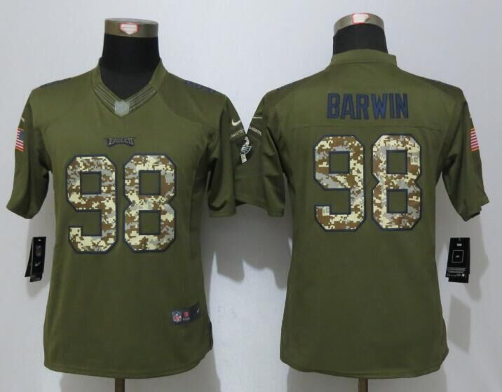 Women Nike Philadelphia Eagles 98 Barwin Green Salute To Service Limited Jersey