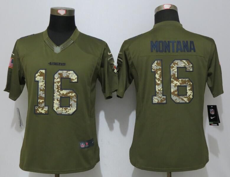 Women Nike San Francisco 49ers 16 Montana Green Salute To Service Limited Jersey