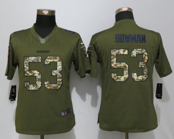 Women Nike San Francisco 49ers 53 Bowman Green Salute To Service Limited Jersey