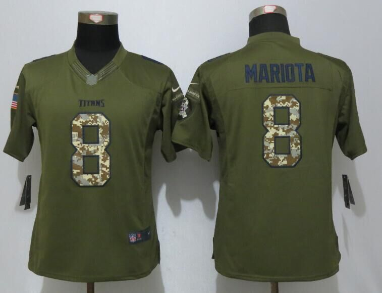 Women Nike Tennessee Titans 8 Mariota Green Salute To Service Limited Jerseys