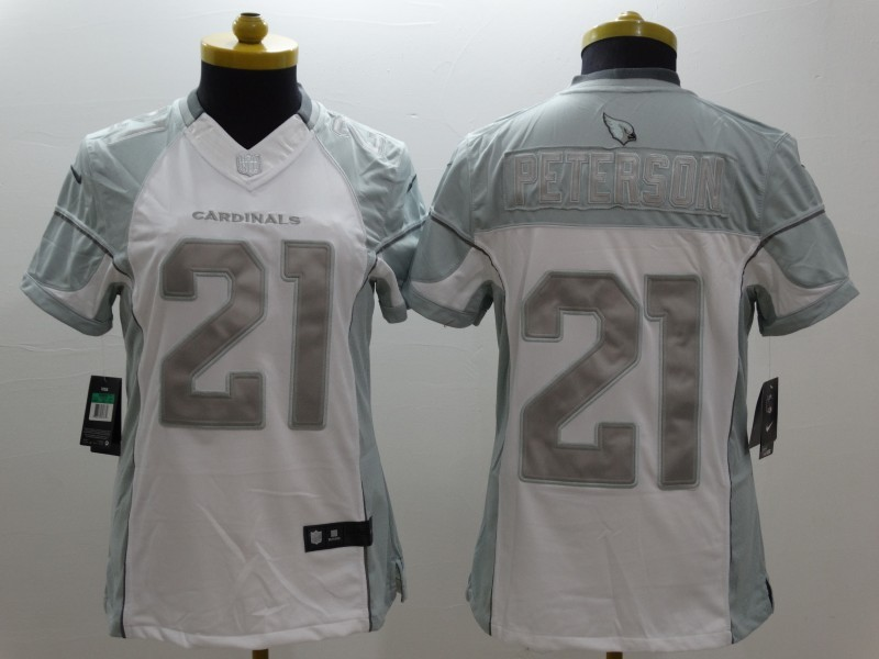 Womens Arizona Cardicals 21 Peterson Platinum White 2015 NEW Nike Limited Jerseys