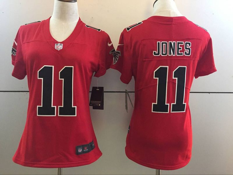 Womens Atlanta Falcons 11 Julio Jones Red 2016 Nike Stitched NFL Limited Rush Jersey