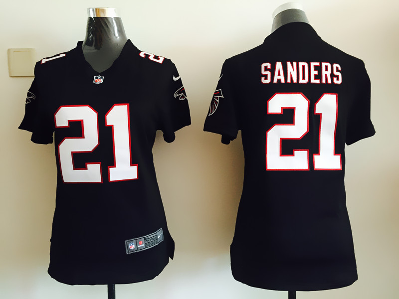 Womens Atlanta Falcons 21 Sanders Black Nike Jerseys