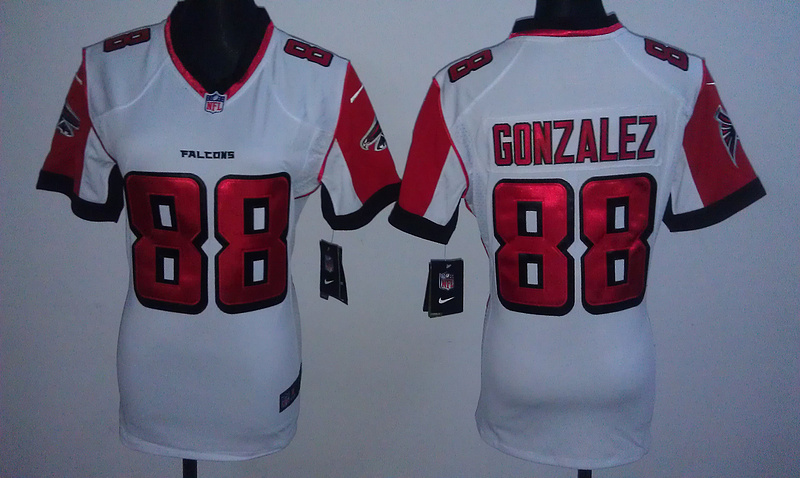 Womens Atlanta Falcons 88 Tony Gonzalez White Nike Jerseys