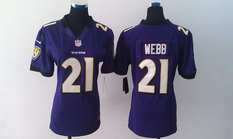 Womens Baltimore Ravens 21 Webb Purple Nike Jerseys