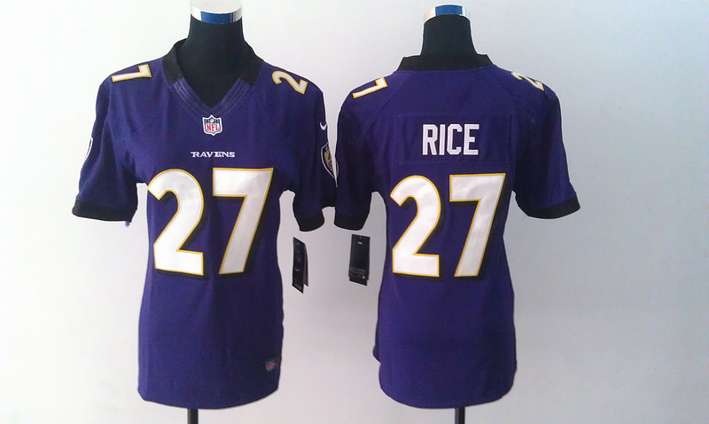 Womens Baltimore Ravens 27 Rice Purple Nike Jerseys
