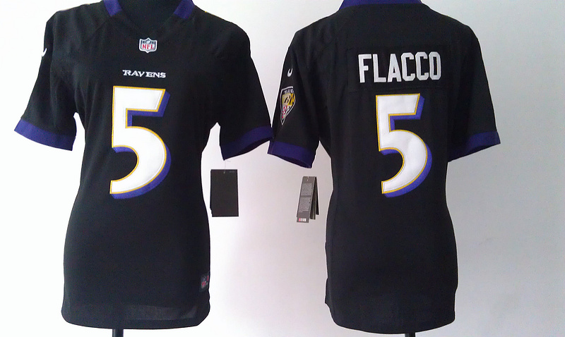 Womens Baltimore Ravens 5 Flacco Black Nike Jerseys