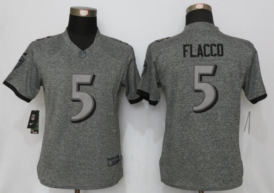 Womens Baltimore Ravens 5 Flacco Gray Stitched Gridiron Gray New Nike Limited Jersey