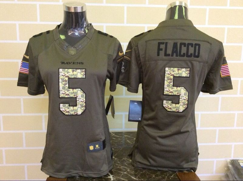 Womens Baltimore Ravens 5 Joe Flacco Green Nike Salute To Service Limited  Jersey d57add161
