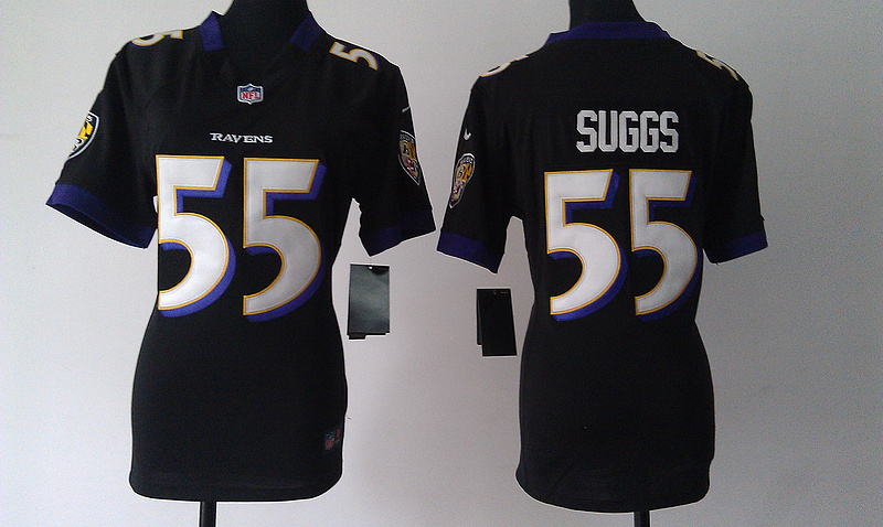 Womens Baltimore Ravens 55 Terrell Suggs Black Nike Jerseys
